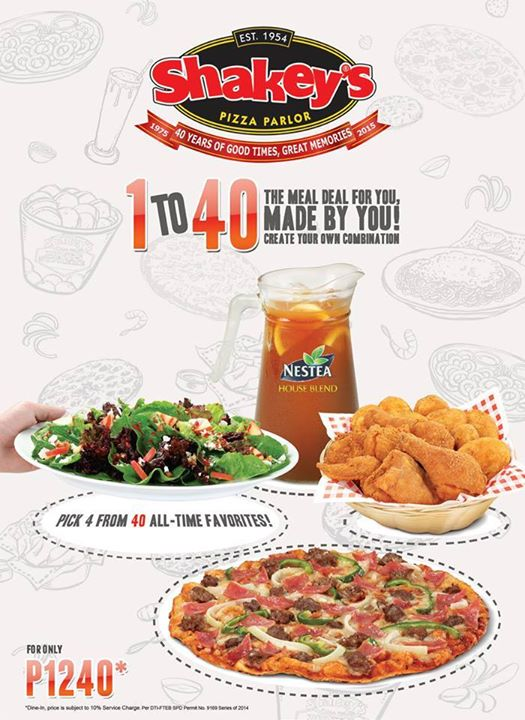 Shakey's 1 to 40 Meal Deal
