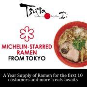 Score one-year supply of Tsuta Ramen on December 16, 2017