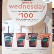 Starbucks Grande Iced Espresso for 100 pesos starting June 20, 2018!
