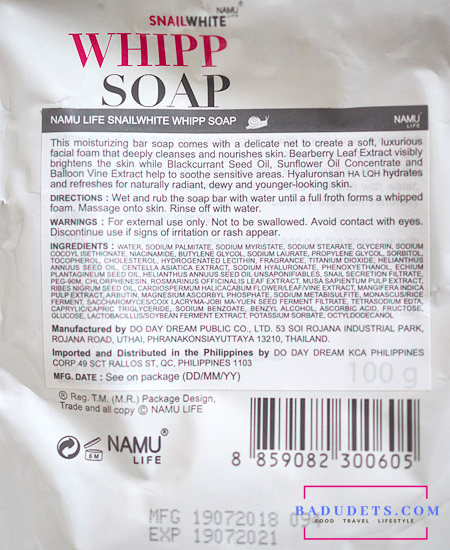 snail white whipp soap ingredients