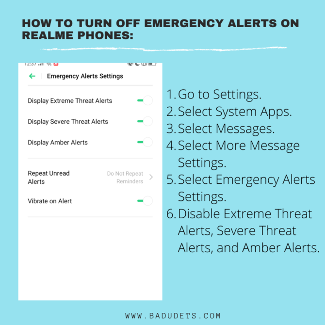 how to turn off emergency alerts in realme phones
