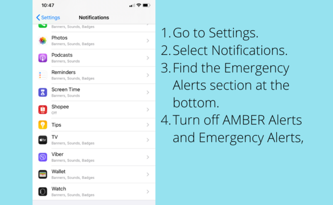 How to turn off Emergency Alerts, AMBER Alerts, NDRRMC Alerts