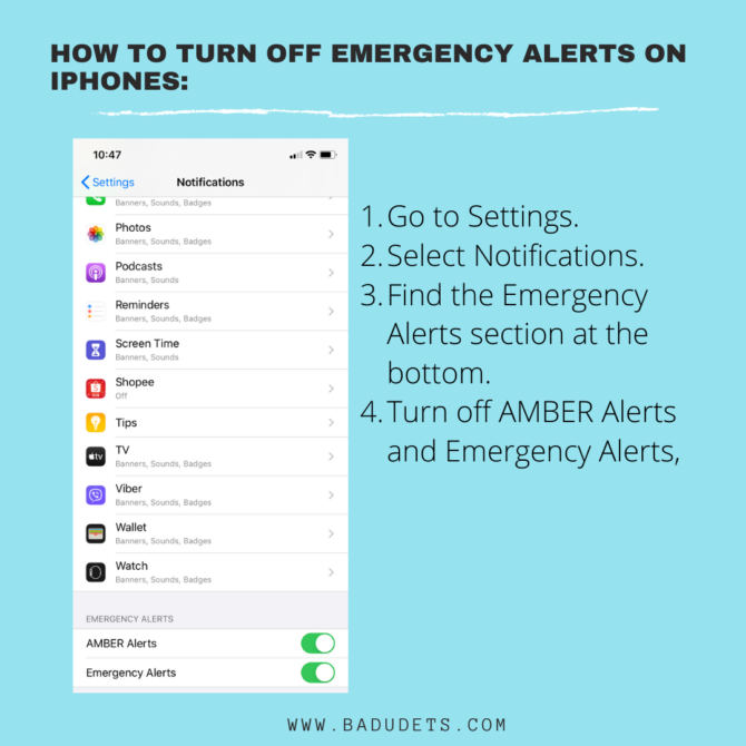 how to turn off ndrrmc alerts in iphone
